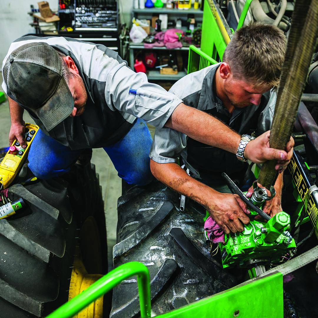 Diesel technicians at work